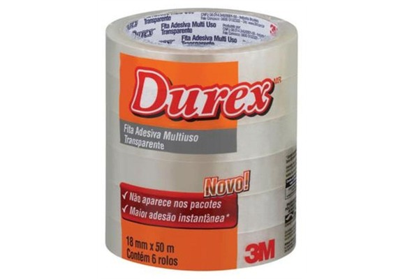 DUREX TRANSPARENTE 18MMX50M 3M PACOTE COM 6 ROLOS