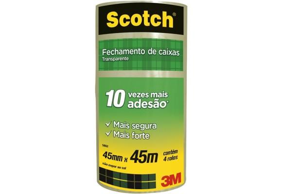 DUREX TRANSPARENTE SCOTCH 45MMX45M 3M PACOTE COM 4 ROLOS