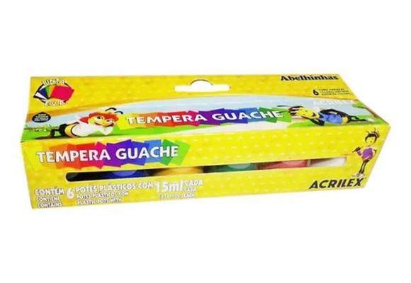 TEMPERA GUACHE ACRILEX COM 6 CORES