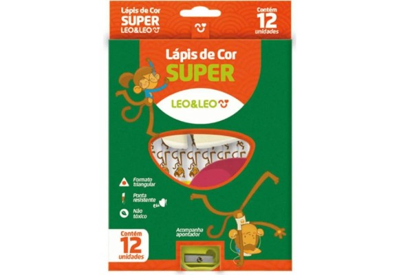 LAPIS DE COR 12 CORES SUPER JUMBO LEO&LEO