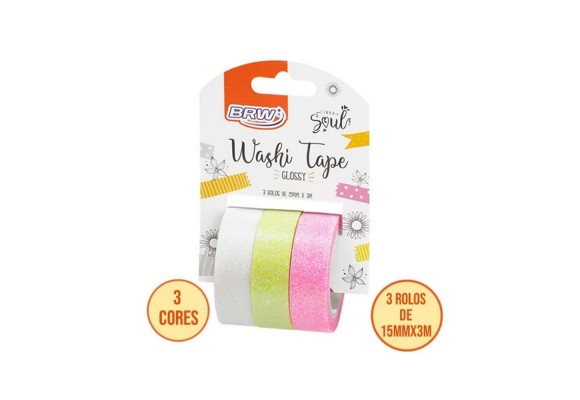 FITA ADESIVA WASHI TAPE BRW - GLOSSY BCO/AM/RS- 15MMX3M - BLISTER C/ 3UN