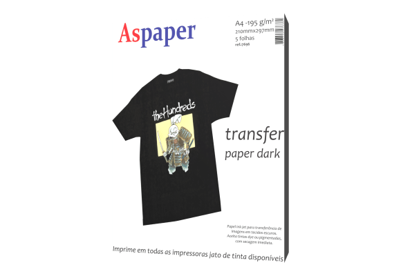 PAPEL TRANSFER INK JET DARK 210X297MM 5 FLS